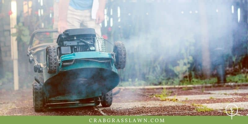 white smoke from a lawn mower